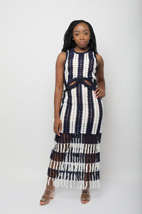 Striped Crochet Fringe Dress