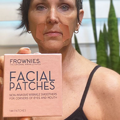 frownies wrinkle patches for forehead and between eyes, wrinkle smoothies, natural skin care, wrinkle treatment, elevens, crows feet, smile lines, marionette lines, wrinkle patches, gel patch, silicone patch