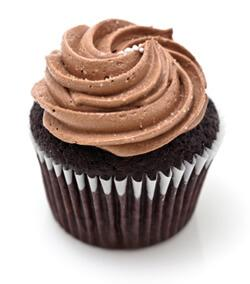 Chocolate cupcake with chocolate buttercream frosting on a white background.