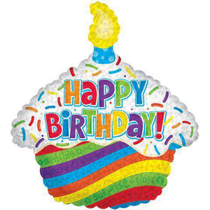 "Balloons - Cupcake-Shaped ""Happy Birthday"" Mylar Balloons, 26"" (sku 128)"