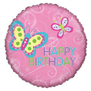 "Balloons - ""Happy Birthday"" Butterfly Mylar Balloons, 18"" (sku 103)"