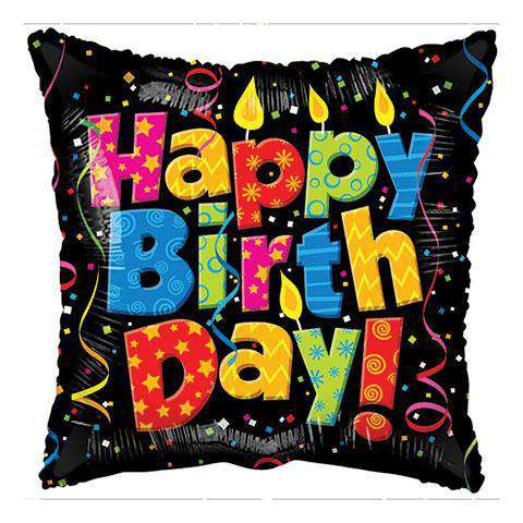 Happy Birthday Candle and Confetti Square Foil Balloons, 18 in (sku 284) - CupcakeDropoff .com