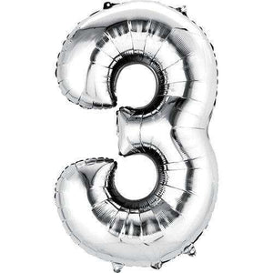 Jumbo Number 3 Balloon 36x22 inches - CupcakeDropoff .com