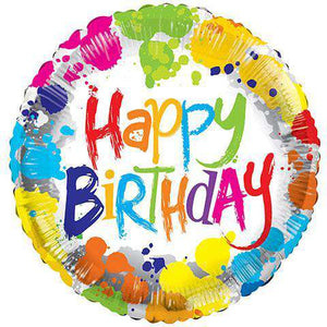 Balloons - Tie Dye Happy Birthday Foil Balloons, 18 In. (sku 373)