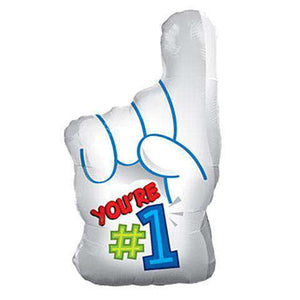 """You're # 1"" Finger Mylar Balloons, 18"" (sku 348) - CupcakeDropoff .com"