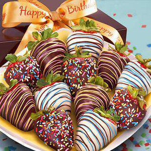 Choc. Strawberries - Birthday Dipped Berries (12)