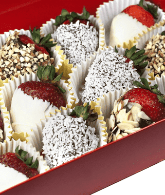 Nuts About Chocolate Covered Strawberries (12) - CupcakeDropoff .com
