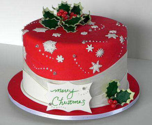 Christmas - Holly And Snowflakes Cake