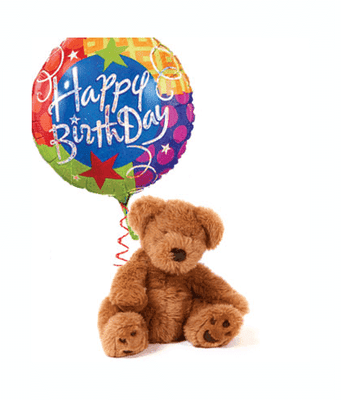 Birthday Balloon and Teddy Bear - CupcakeDropoff .com