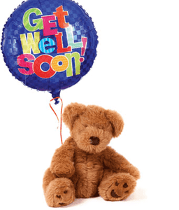 Get well Soon Balloon and Teddy Bear - CupcakeDropoff .com