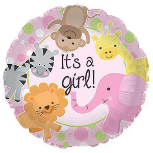 "Occasions - Pink ""It's A Girl!"" Baby Shower Mylar Balloons, 18"" (sku 115)"