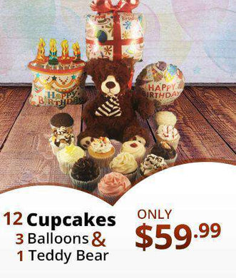 Assorted Birthday Cupcakes, Teddy bear and 3 Balloons Package - CupcakeDropoff .com