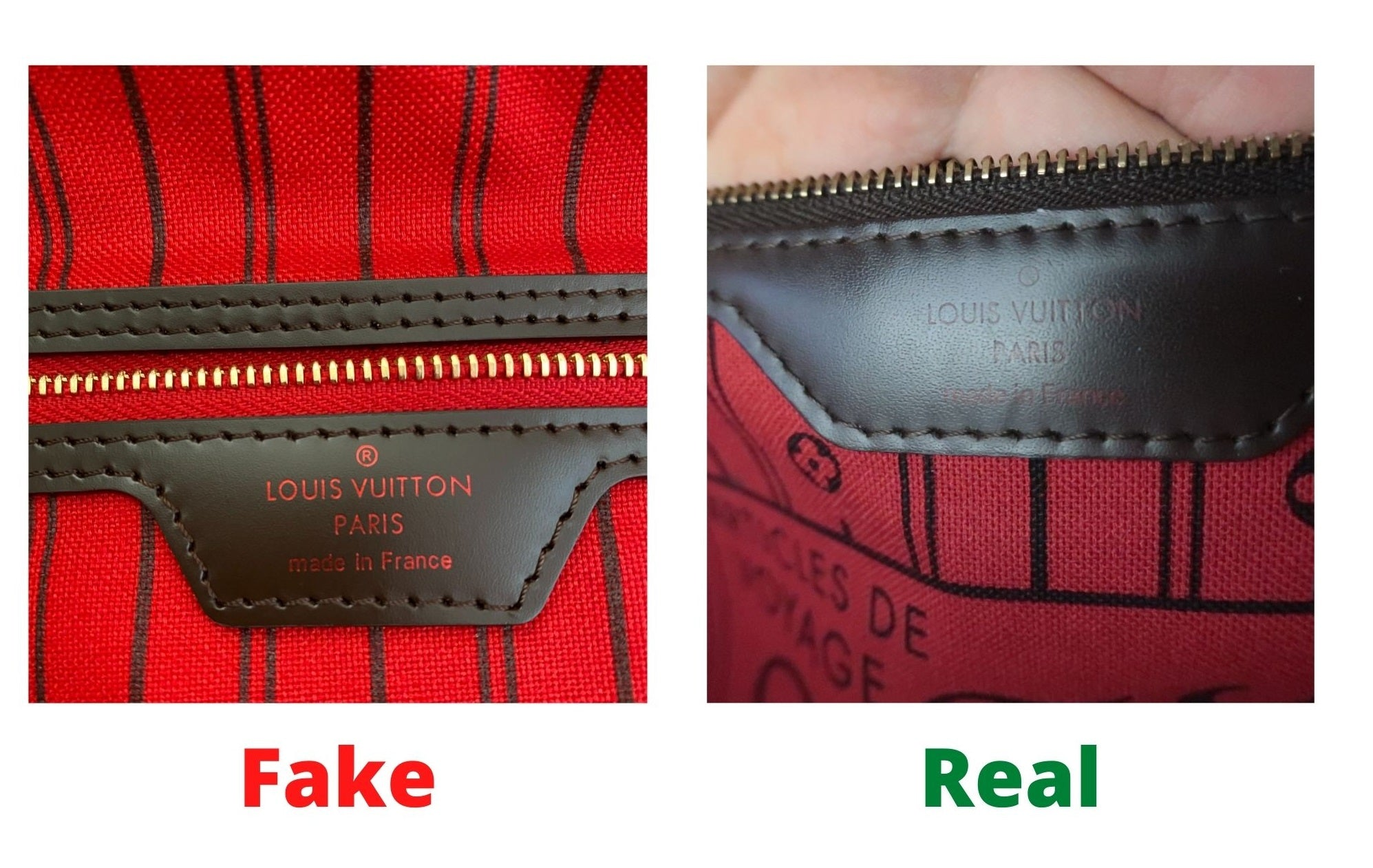 Fake Louis Vuitton Neverfull vs Real: Important Details You Should Definitely Pay Attention To (With Photo Examples) neverfull damier ebene fake vs real heat stamp
