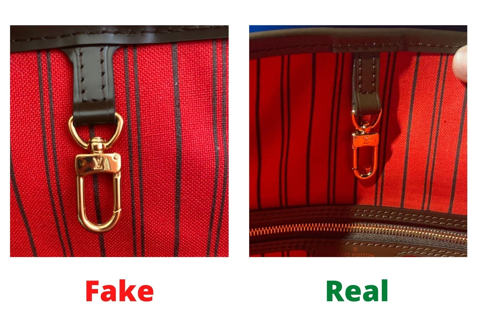 Fake Louis Vuitton Neverfull vs Real: Important Details You Should Definitely Pay Attention To (With Photo Examples) meverfull damier ebene fake vs real clasp
