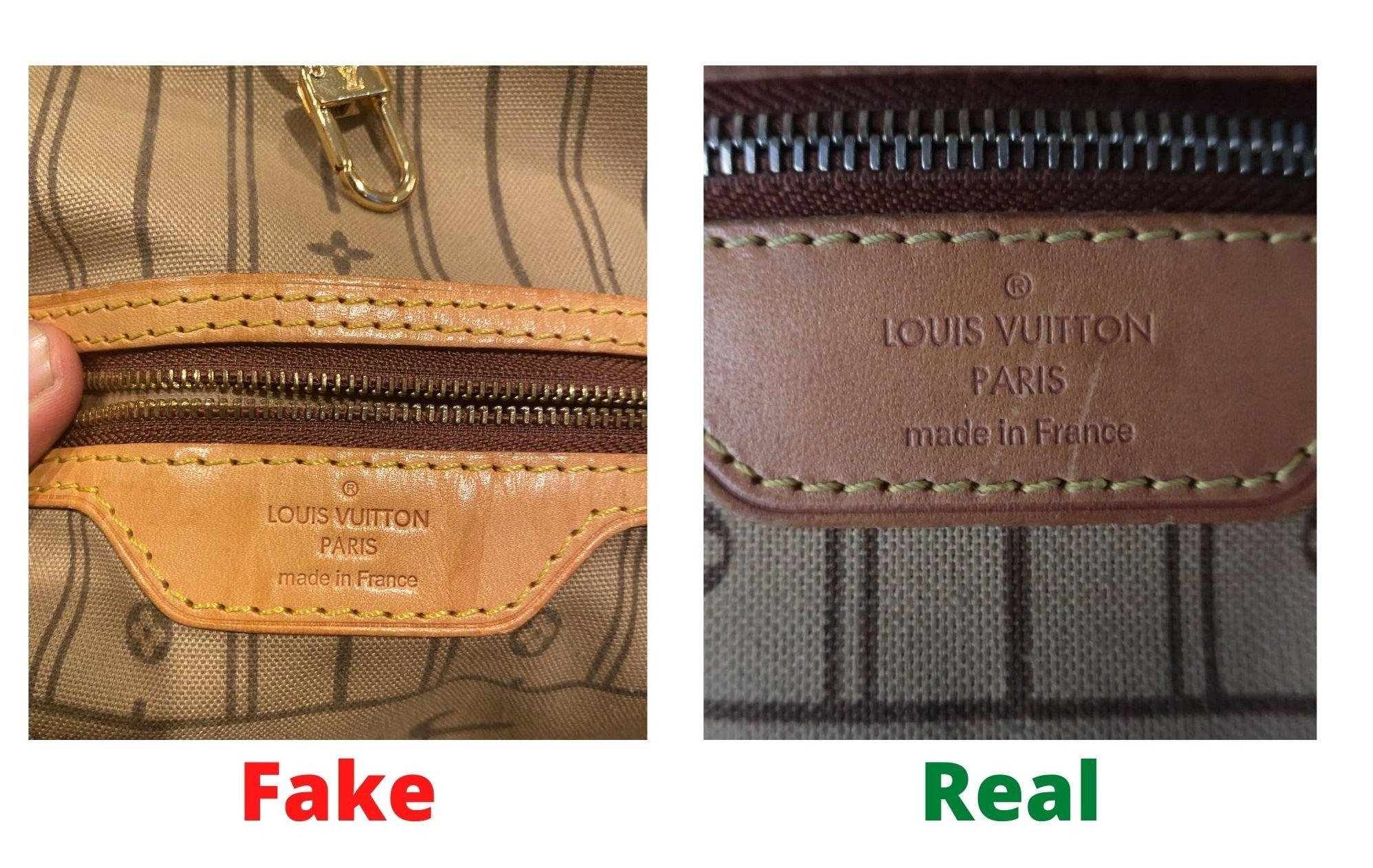 Fake Louis Vuitton Neverfull vs Real: Important Details You Should Definitely Pay Attention To (With Photo Examples) neverfull monogram real vs fake heat stamp