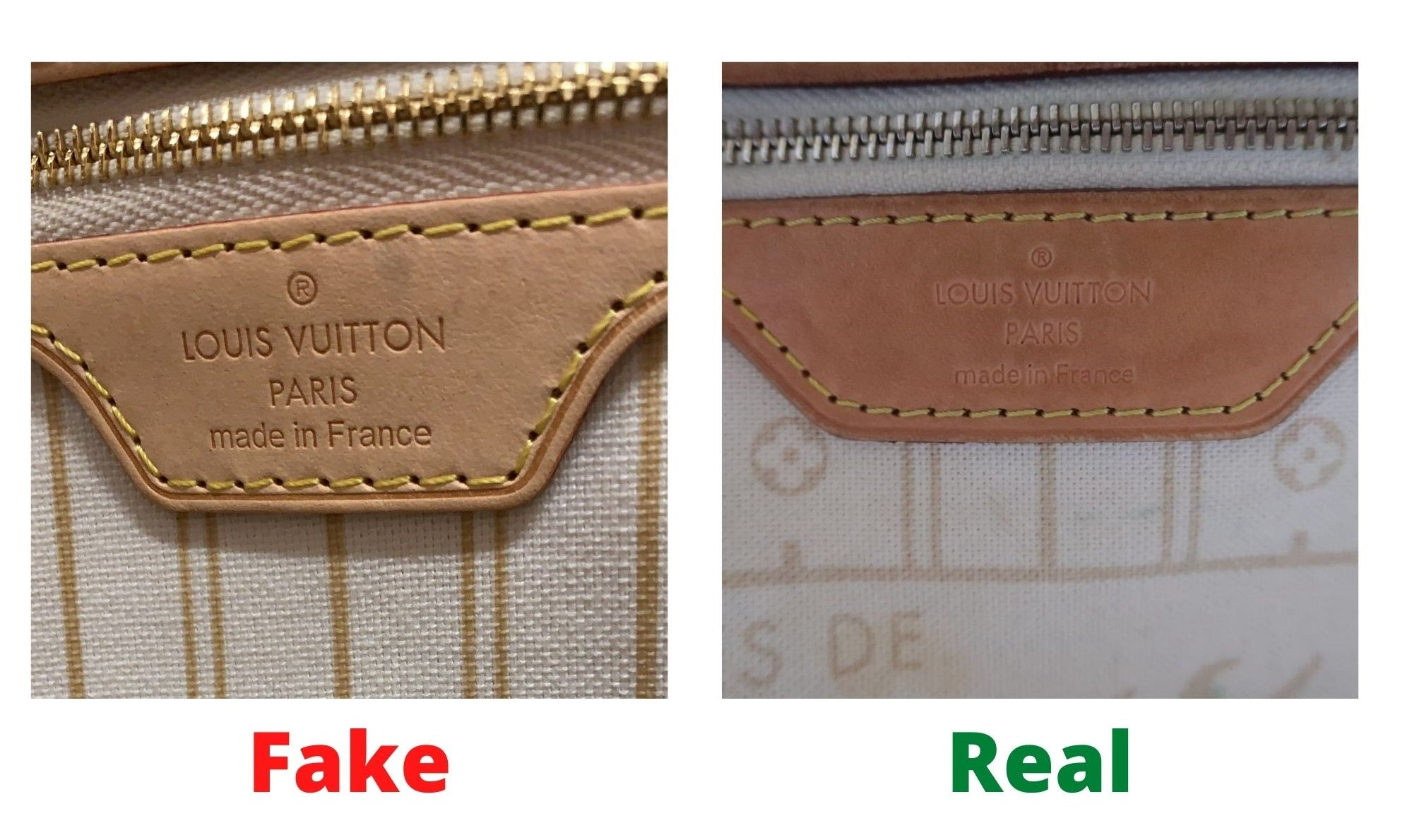 Fake Louis Vuitton Neverfull vs Real: Important Details You Should Definitely Pay Attention To (With Photo Examples) Neverfull Damier Azur heat stamp