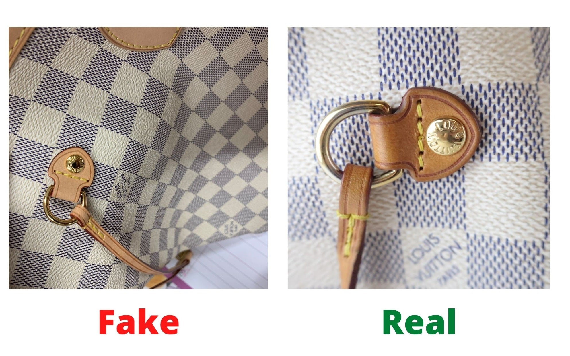 Fake Louis Vuitton Neverfull vs Real: Important Details You Should Definitely Pay Attention To (With Photo Examples) Neverfull Damier Azur real vs fake pin