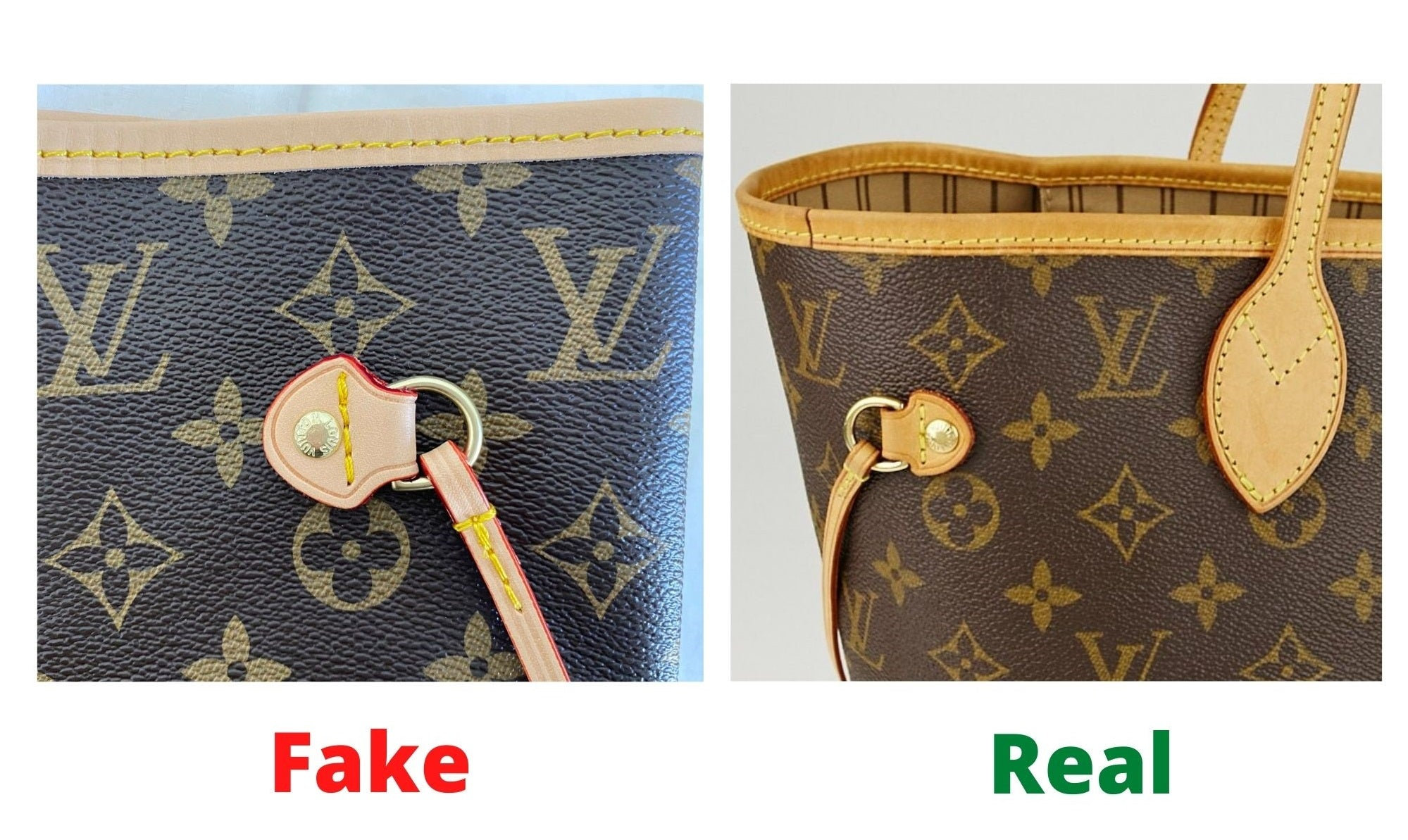 ake Louis Vuitton Neverfull vs Real: Important Details You Should Definitely Pay Attention To (With Photo Examples) Neverfull real vs fake leather element