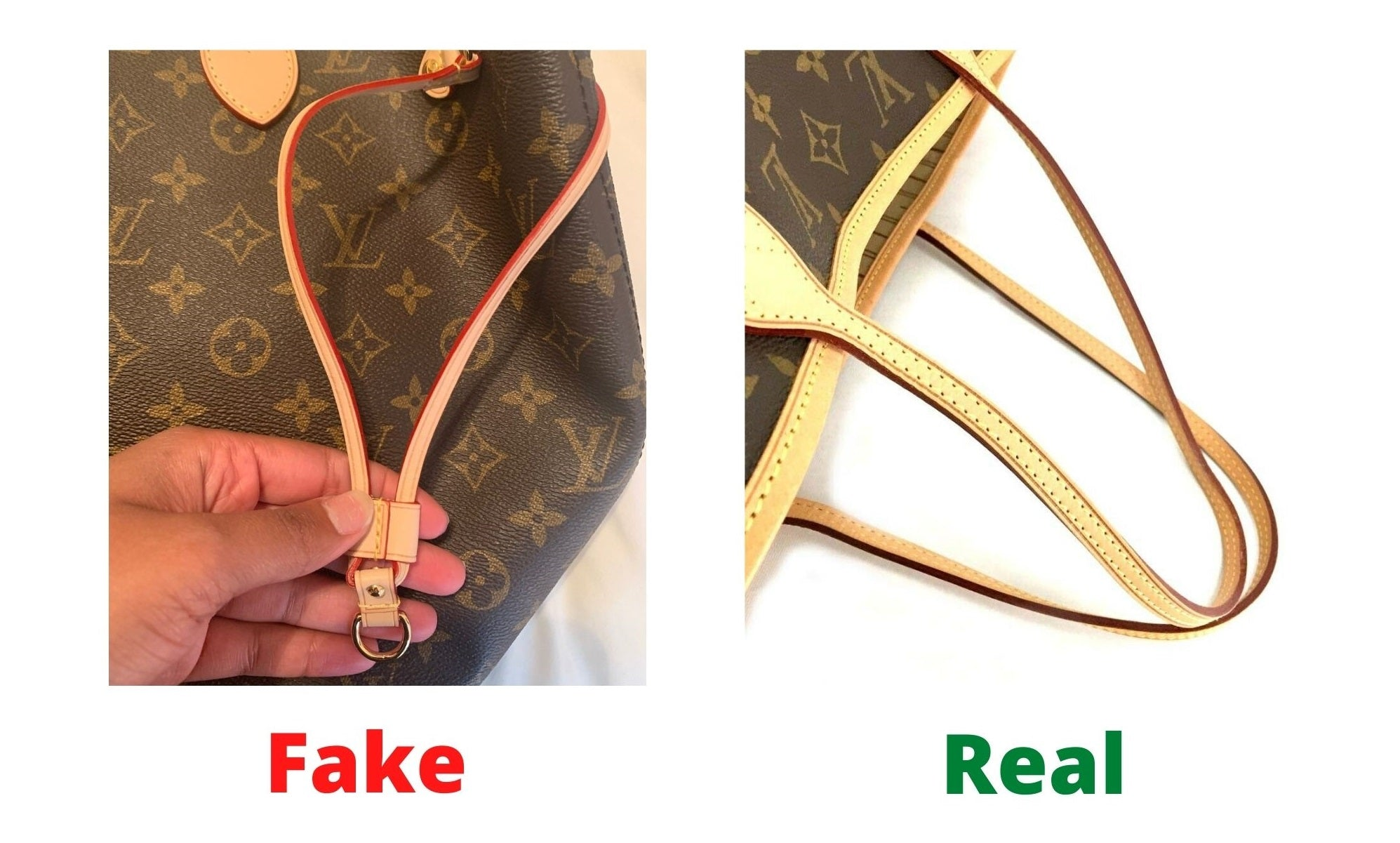 Fake Louis Vuitton Neverfull vs Real: Important Details You Should Definitely Pay Attention To (With Photo Examples) real vs fake neverfull monogram glazing