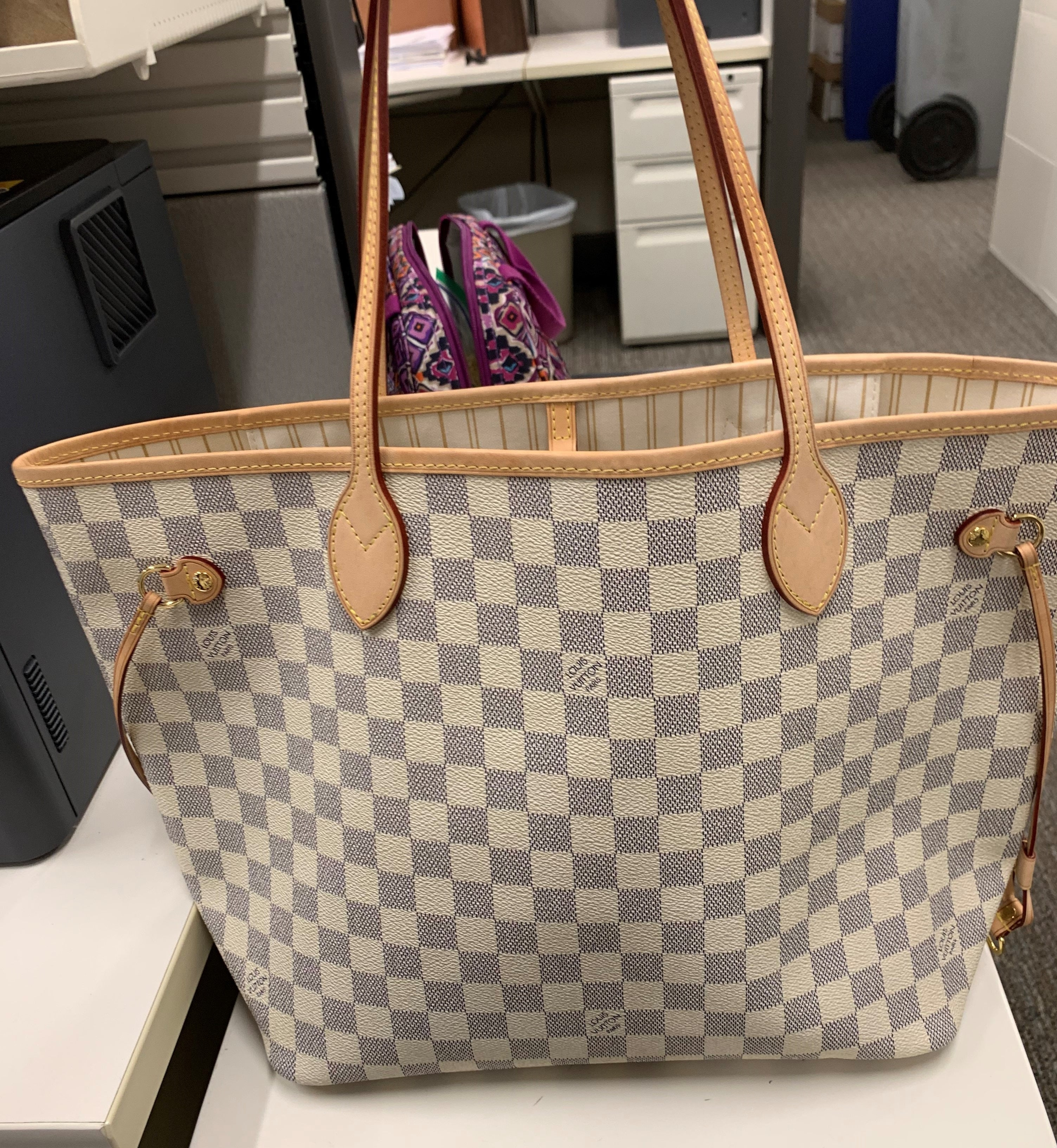 Fake Louis Vuitton Neverfull vs Real: Important Details You Should Definitely Pay Attention To (With Photo Examples) fake Neverfull Damier Azur front view