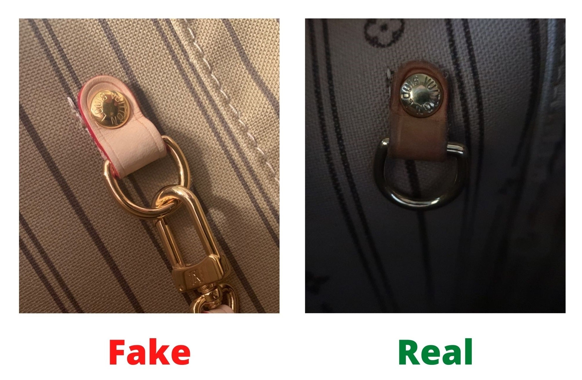 Fake Louis Vuitton Neverfull vs Real: Important Details You Should Definitely Pay Attention To (With Photo Examples) Fake vs Real Neverfull Monogram internal element