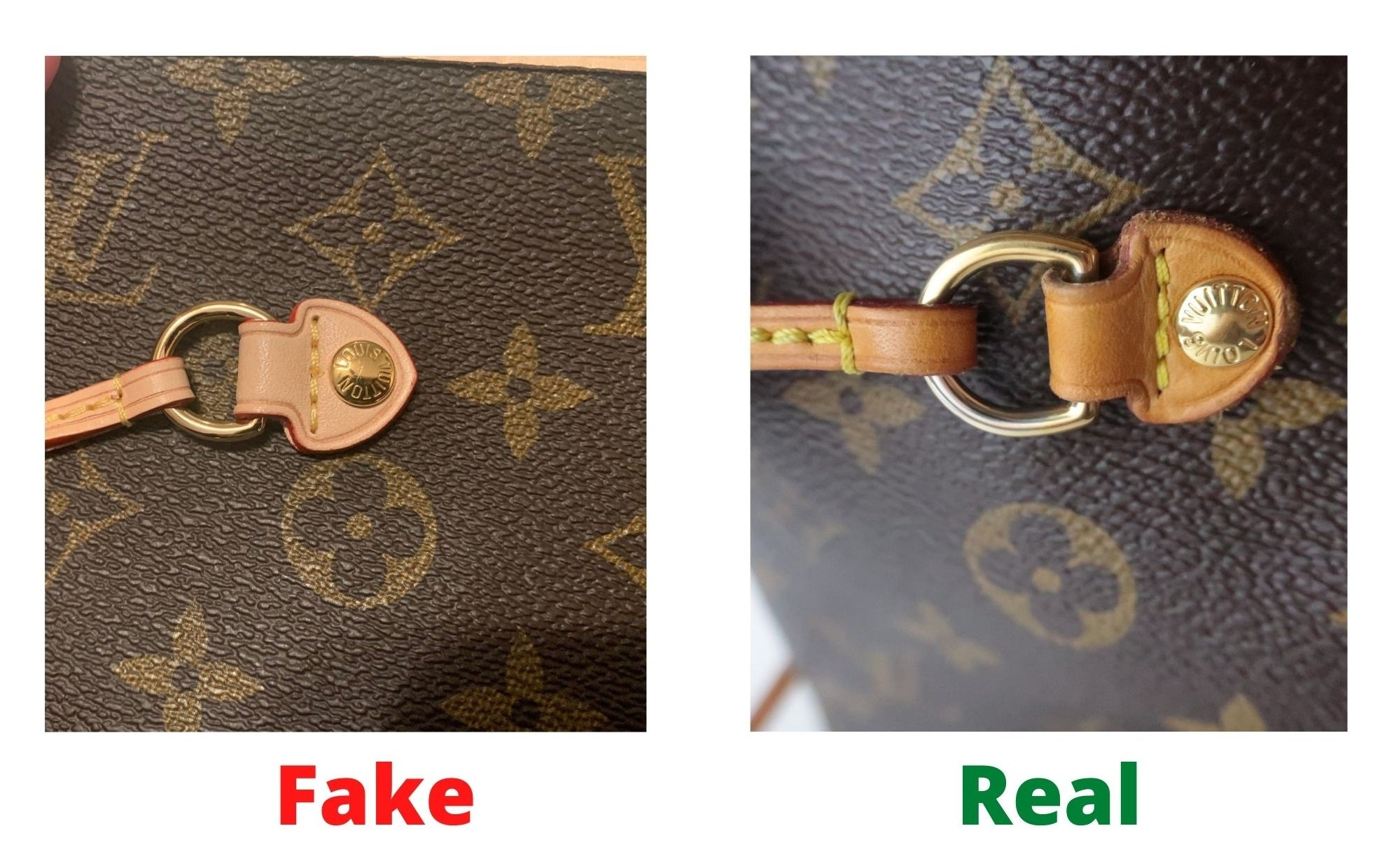 Fake Louis Vuitton Neverfull vs Real: Important Details You Should Definitely Pay Attention To (With Photo Examples) fake vs real neverfull monogram outside pin