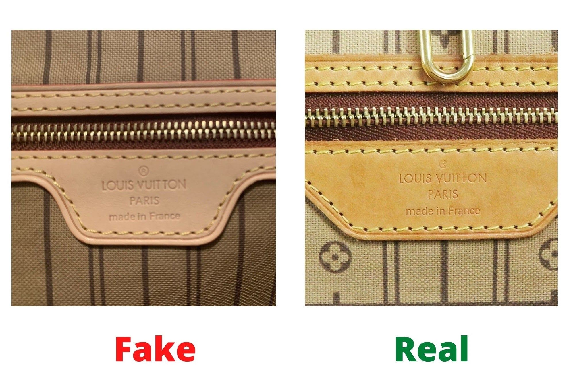 Fake Louis Vuitton Neverfull vs Real: Important Details You Should Definitely Pay Attention To (With Photo Examples) fake vs real neverfull monogram heat stamp