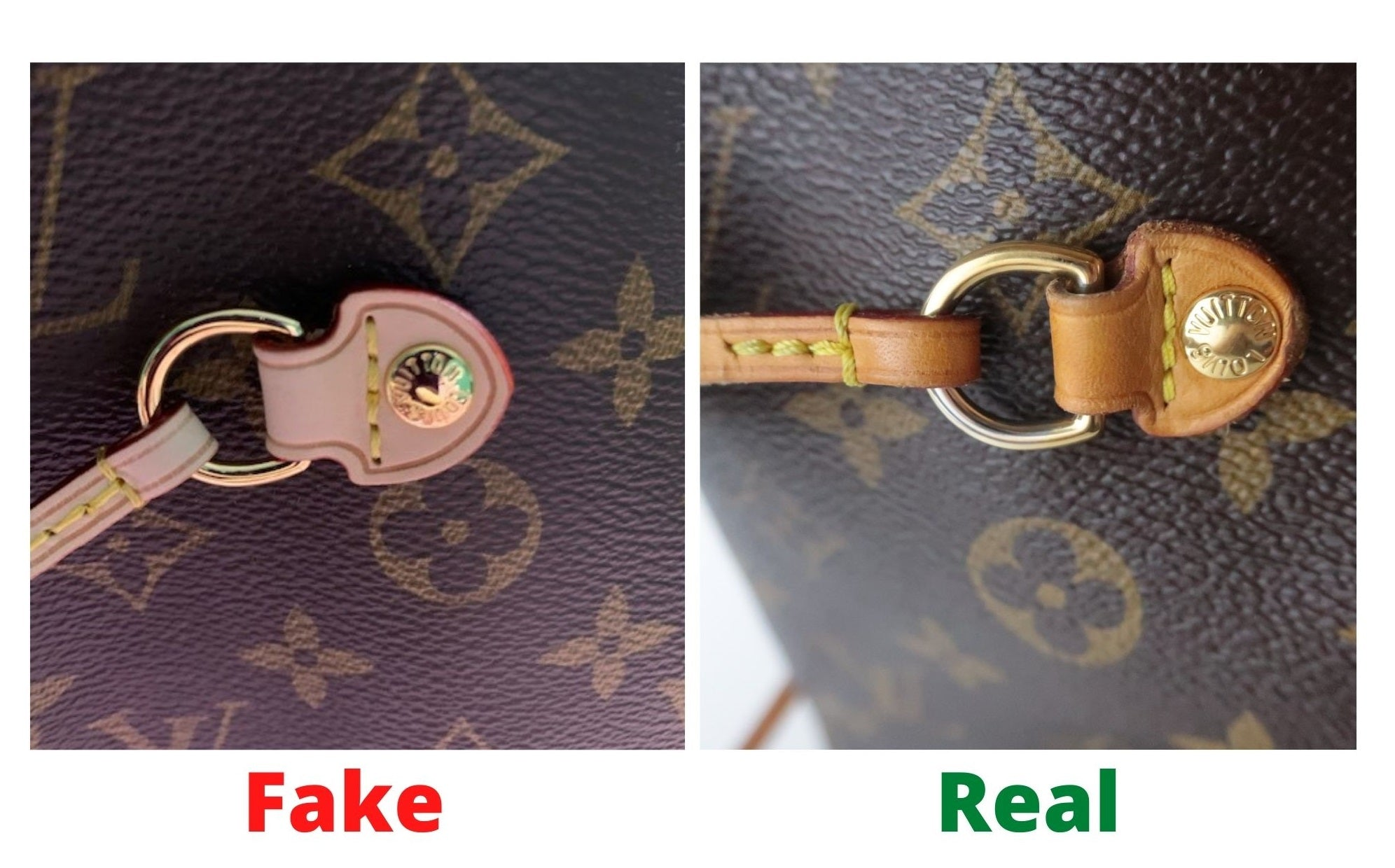 Fake Louis Vuitton Neverfull vs Real: Important Details You Should Definitely Pay Attention To (With Photo Examples) Fake vs real Neverfull Monogram leather element