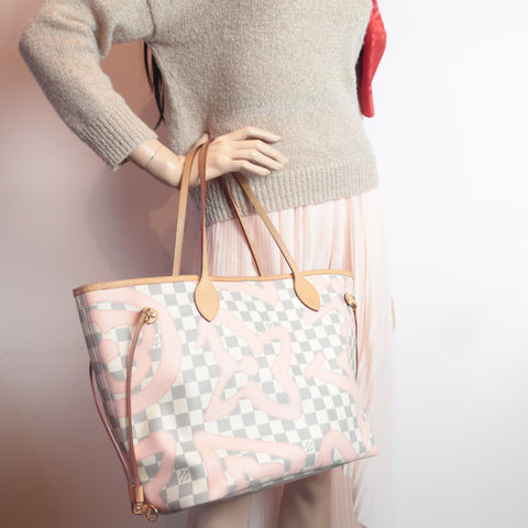 louis vuitton neverfull mm tahitienne pink flowers
