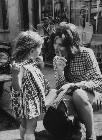 "Vanessa Redgrave and her daughter on set of the film ""Blow-Up"", 1966"