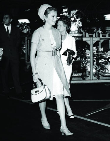 Paola di Liegi carrying an early Gucci Bamboo Bag in Poissy, #1964