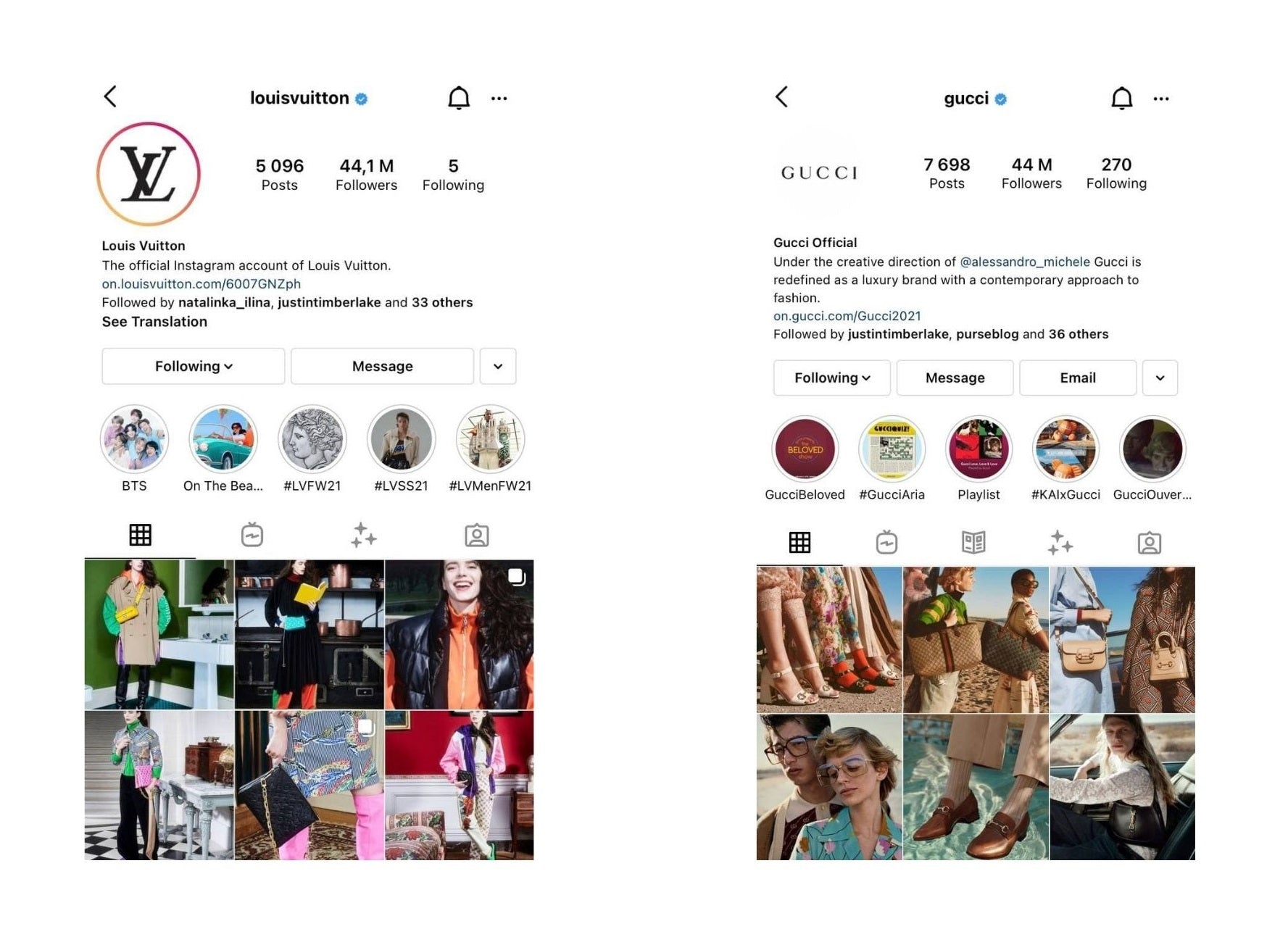 Which Brand Is Better: Louis Vuitton vs Gucci social media