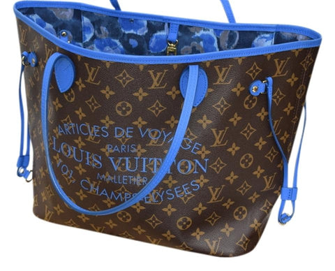 louis vuitton ikat blue floral neverfull mm
