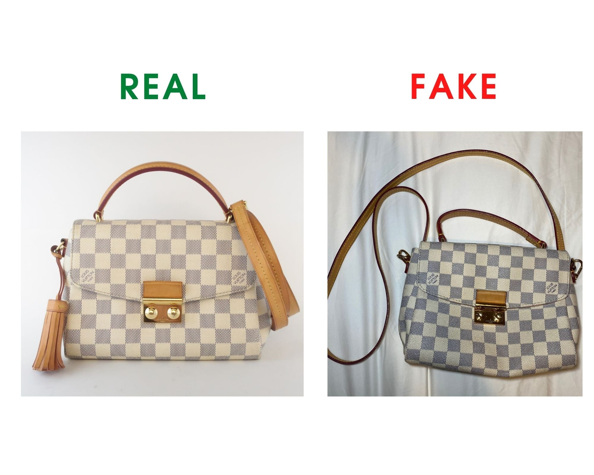Louis Vuitton Croisette Bag Review and Real vs Fake Comparison (With Real Photos) Front