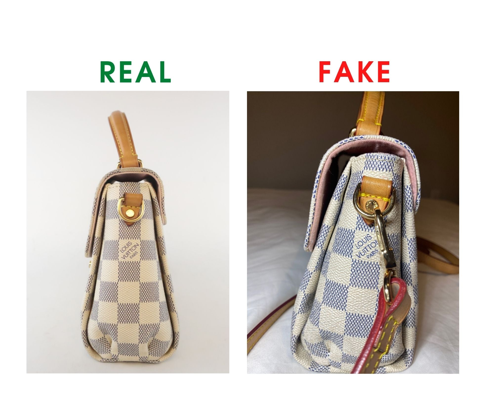 Louis Vuitton Croisette Bag Review and Real vs Fake Comparison (With Real Photos) leather buckle