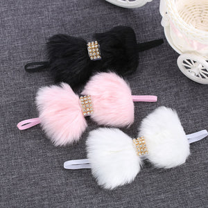 Rabbit Fur Rhinestone Elastic Headband