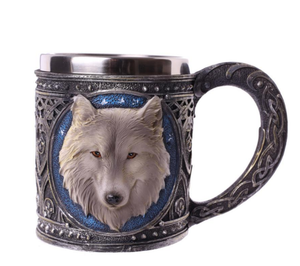 Retro Style 3D Wolf King Pattern Drinking Mugs