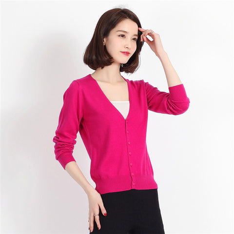 V-Neck Candy Colors Knitted Cardigan