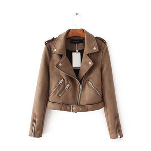 Women Short PU Leather Jacket