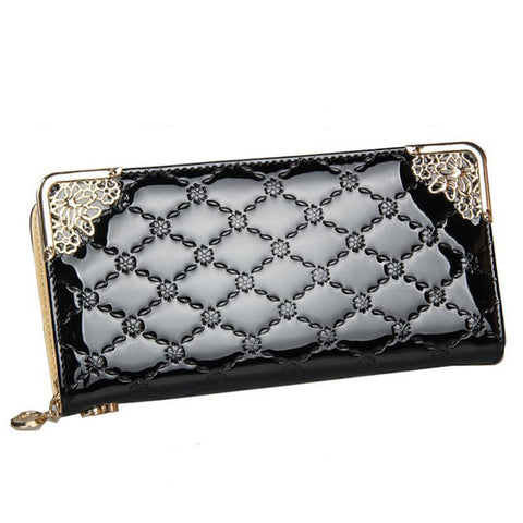 Long Patent Leather Plaid Wallet
