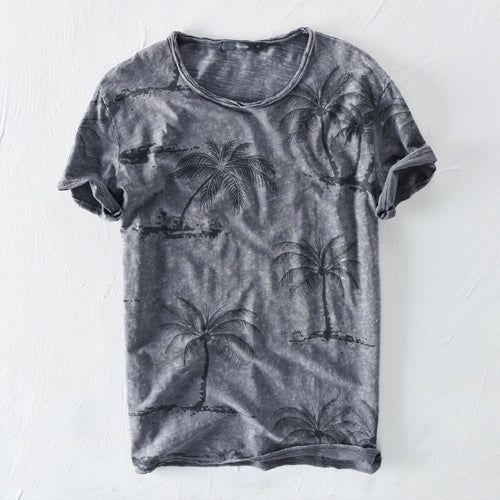 Beach tree print cotton linen top - Liked Buy