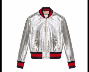 Women Leather Baseball Jacket