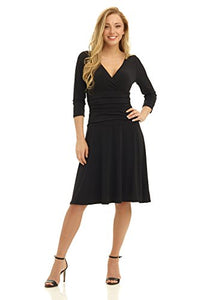 Fit-and-Flare Crossover Control Dress
