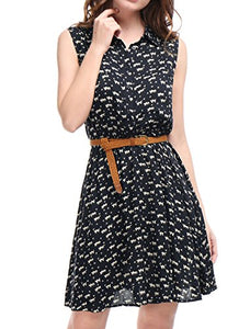 Printed Belted Sleeveless Dress