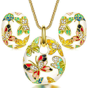 Enamel Butterfly Jewelry Set