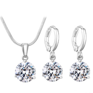 Round Cubic Zircon Copper Jewelry Sets