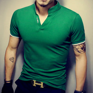Hot Sale Solid V-Neck Men's T Shirt