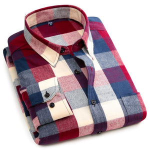 100% Cotton Long Sleeve Plaid Shirt - Liked Buy
