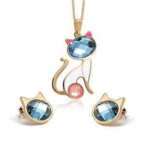 Blue Crystal Cat Jewelry Sets - Liked Buy
