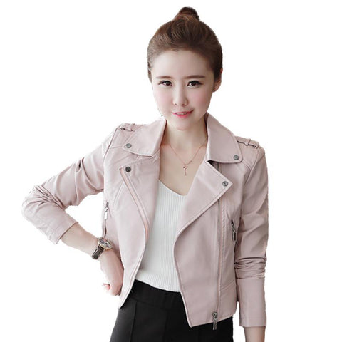 Soft Pu Pink Leather Coats